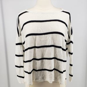 Alice+Olivia Striped Longsleeve Pullover Knit Top